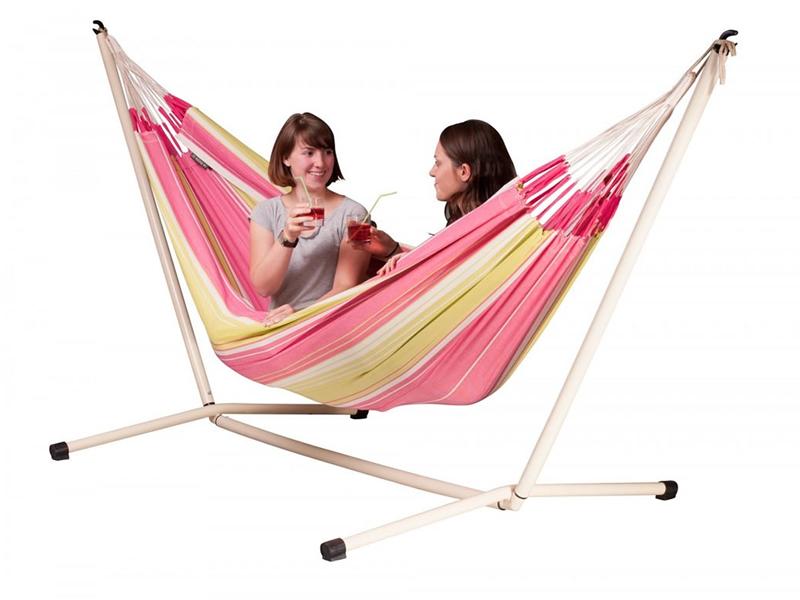 Hammock set: double hammock Botanica with white stand Neptuno, BOH16NPS165