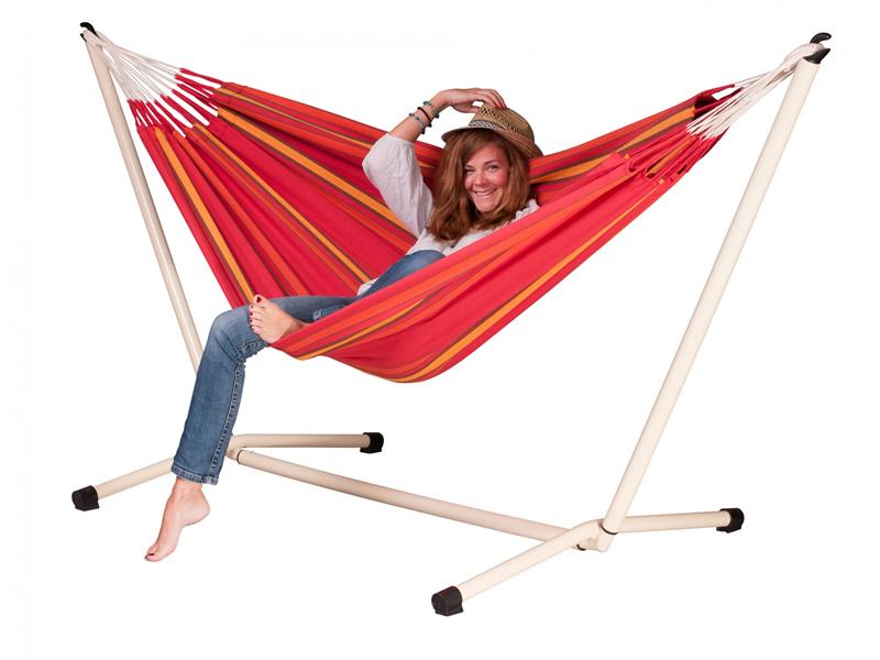 Hammock set: Currambera hammock with white Neptuno stand, CUH14NPS125