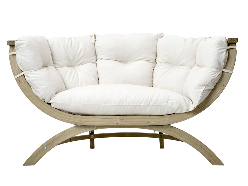 Fotel dwuosobowy drewniany, ecru Siena Due natura