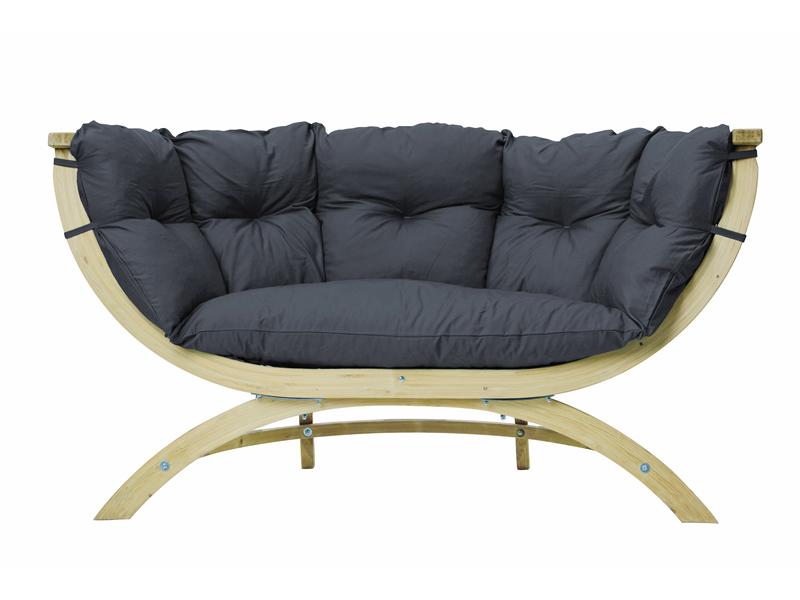 Fotel dwuosobowy drewniany, szaro-czarny Siena Due weatherproof