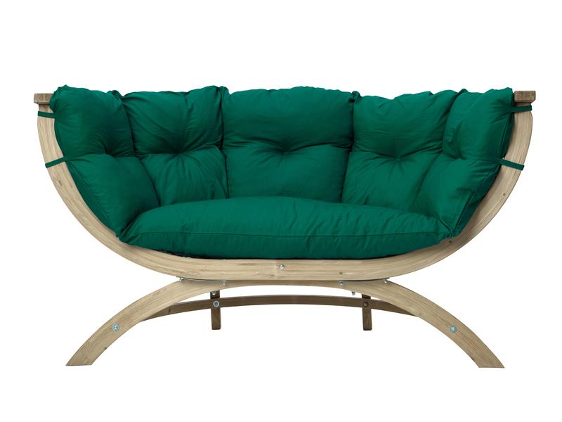 Fotel dwuosobowy drewniany, Zielony Siena Due weatherproof
