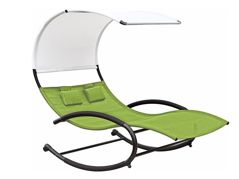 Dwuosobowy fotel bujany, Zielony CHAISERK2