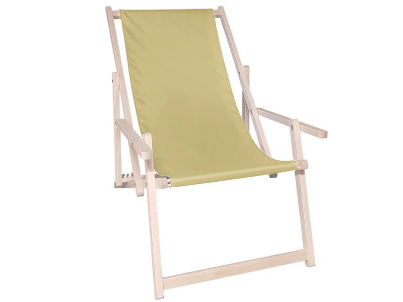Drewniany leżak z podłokietnikiem, cappuccino Swing Sunbed Plus
