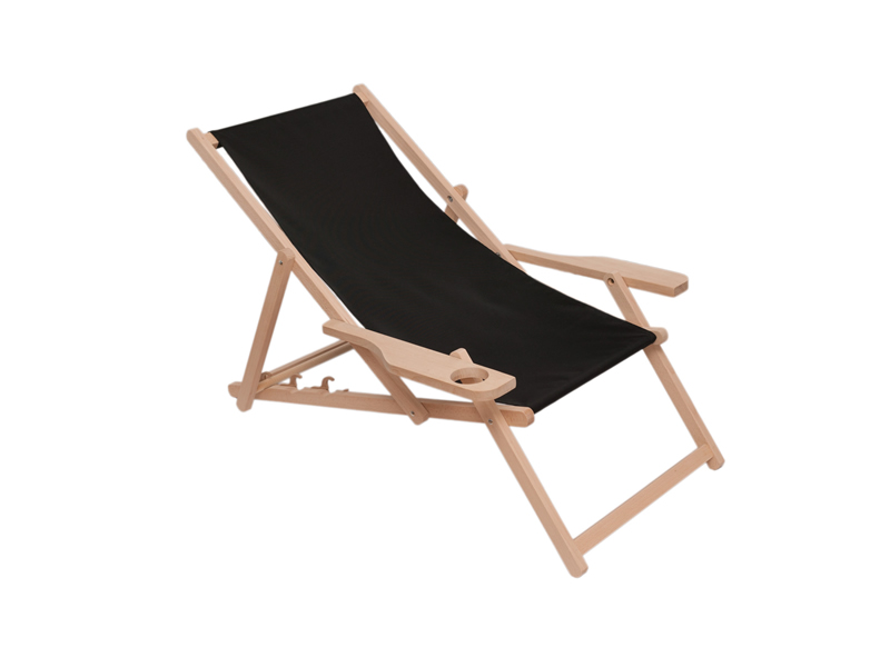 Drewniany leżak z podłokietnikiem i miejscem na kubek, Swing Sunbed Cup Plus