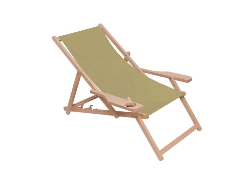 Drewniany leżak z podłokietnikiem i miejscem na kubek, cappuccino Swing Sunbed Cup Plus