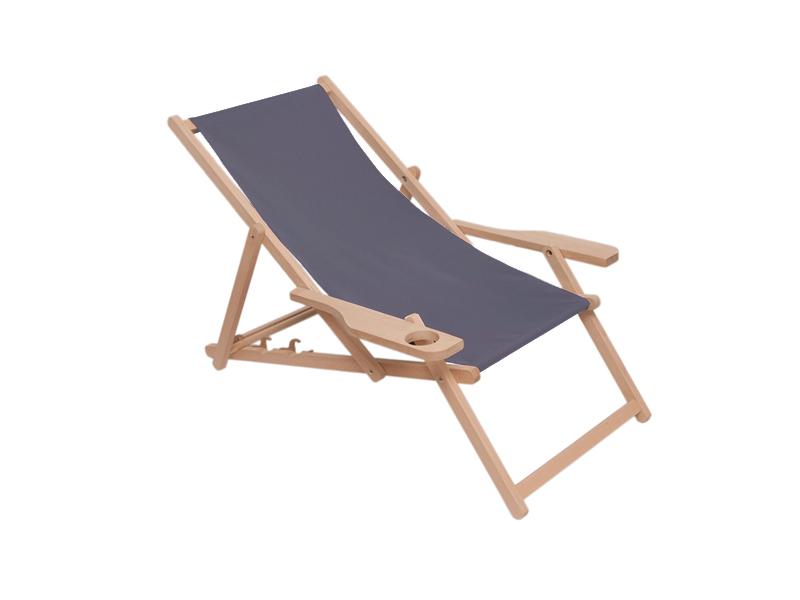 Drewniany leżak z podłokietnikiem i miejscem na kubek, szary Swing Sunbed Cup Plus