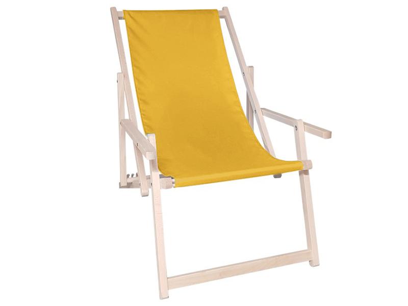 Drewniany leżak z podłokietnikiem, Żółty Swing Sunbed Plus