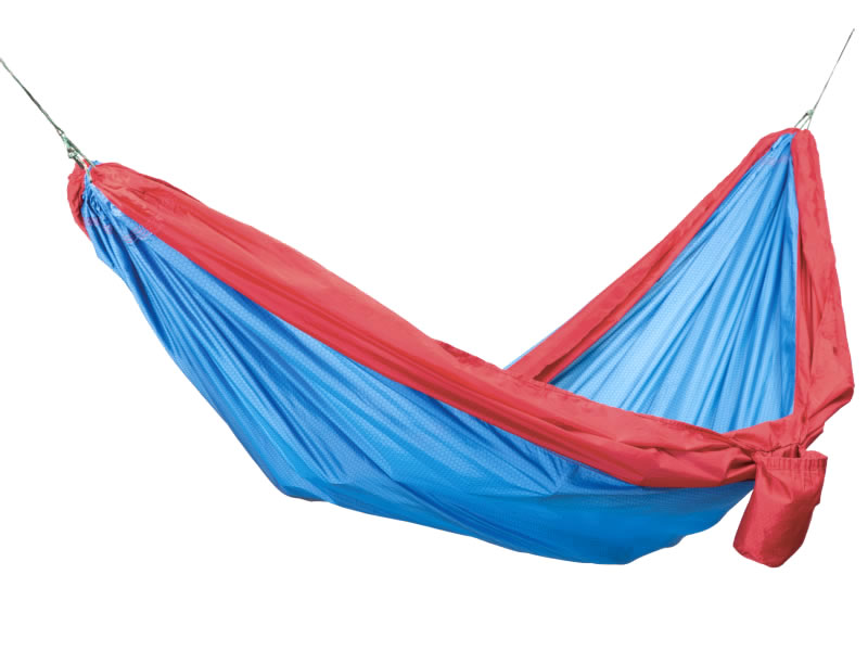Hamak turystyczny dwuosobowy z zestawem, niebiesko-czerwony Travel Hammock Wide Kit