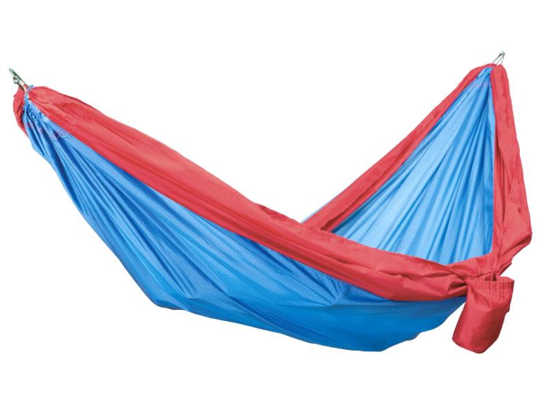 Hamak turystyczny dwuosobowy, niebiesko-czerwony Travel Hammock Wide