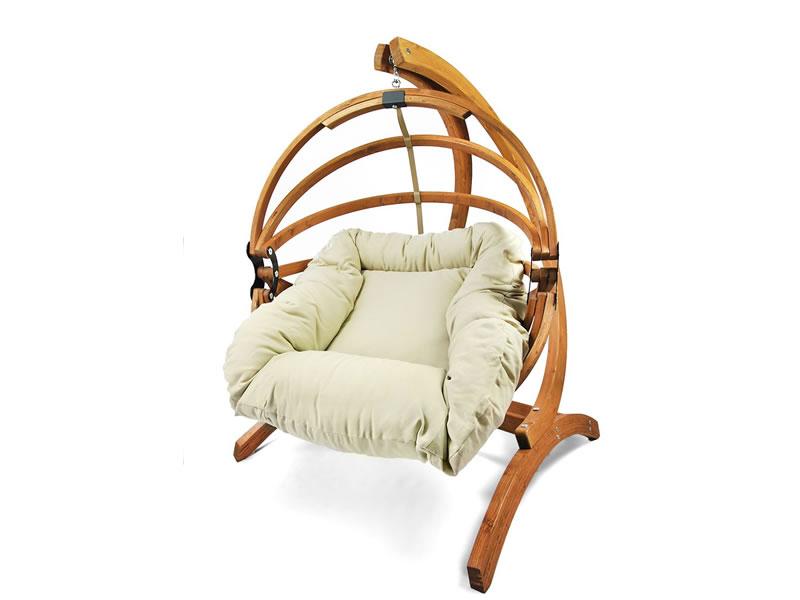 Fotel hamakowy drewniany Gaya(L)-B + stojak Optimist, miodowy beż Zestaw:Gaya (L)-B+Optimist