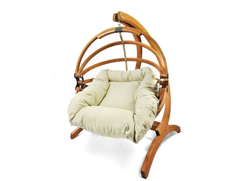 Fotel hamakowy drewniany Gaya(L)-B + stojak Optimist, Zestaw:Gaya (L)-B+Optimist
