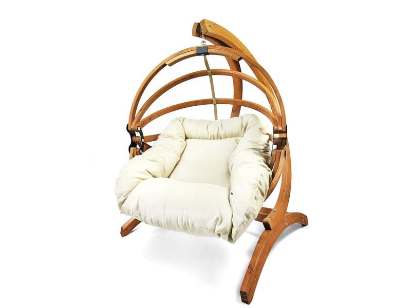 Fotel hamakowy drewniany Gaya(M)-E + stojak Genoa, ecru Zestaw: Gaya (M)-E+Genoa
