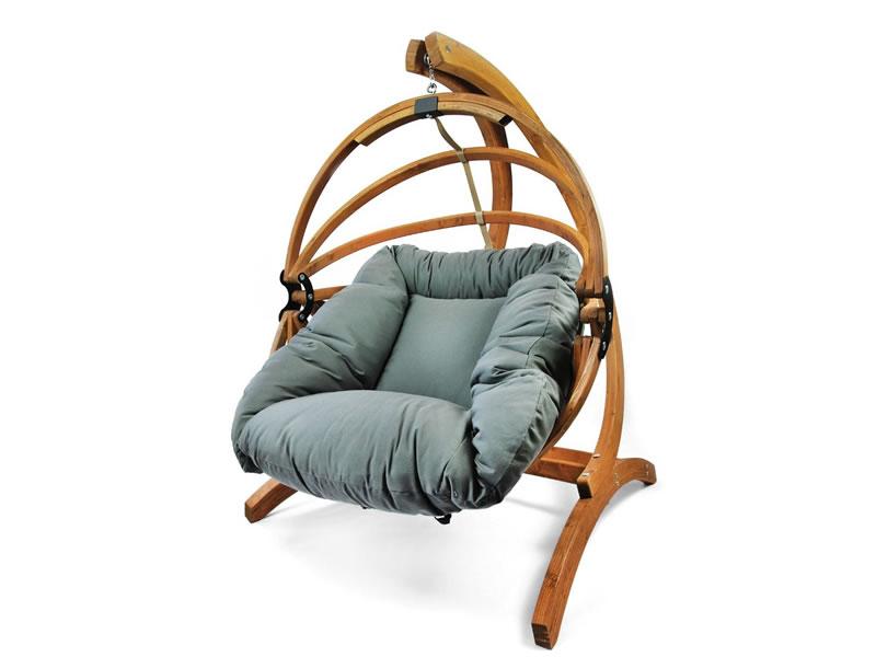 Fotel hamakowy drewniany Gaya(M)-G+Stojak Genoa, grafitowy Zestaw: Gaya (M)-G+Genoa