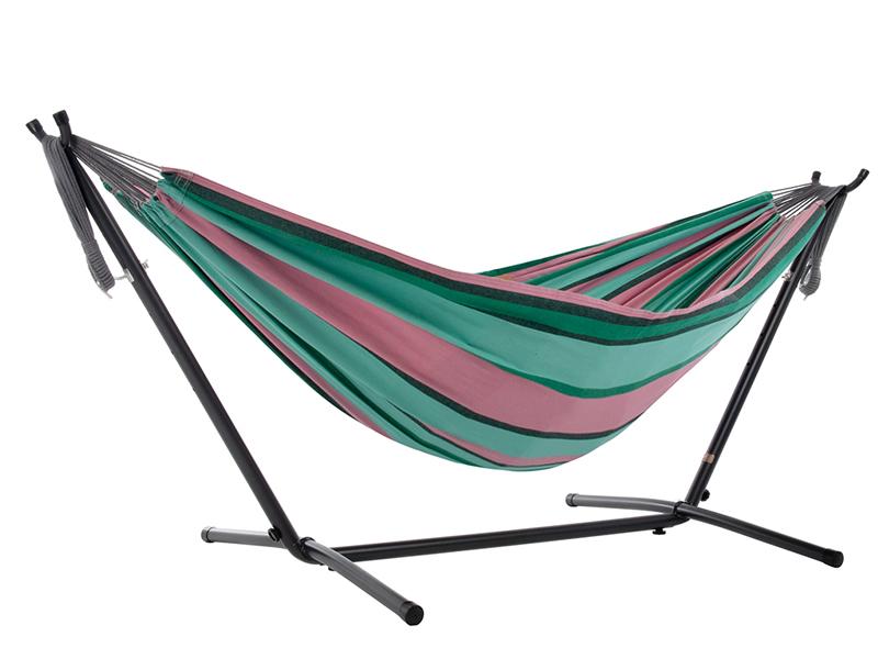 Hamak Combo + stojak metalowy 8f, różowo-zielony UHSDO8
