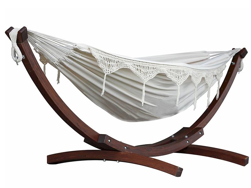 Hamak dwuosobowy + drewniany stojak, ecru C8SPCT