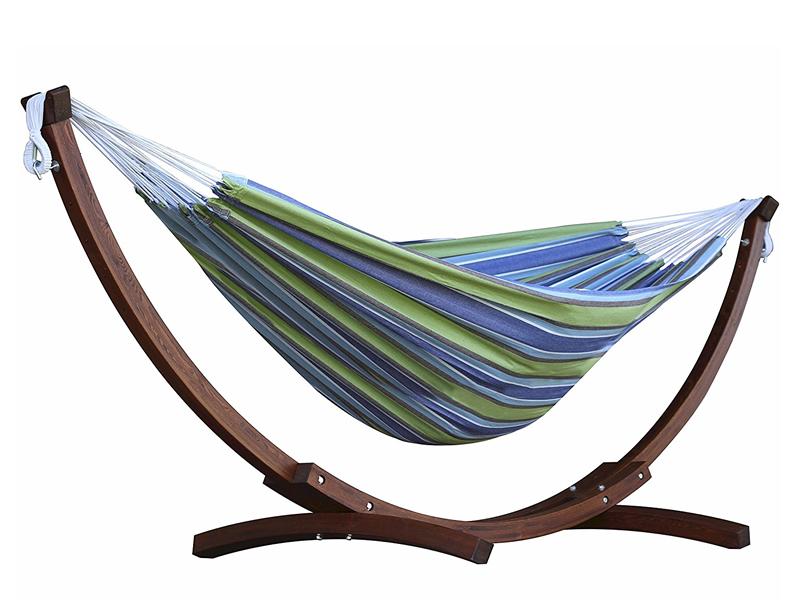 Hamak dwuosobowy + drewniany stojak, niebiesko-zielony C8SPCT
