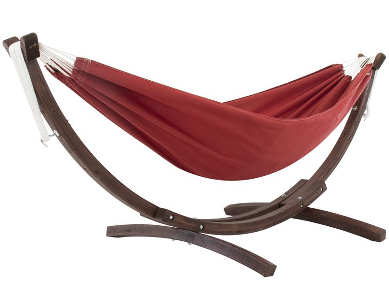 Hamak dwuosobowy Sunbrella + drewniany stojak, Czerwony C8SPSN