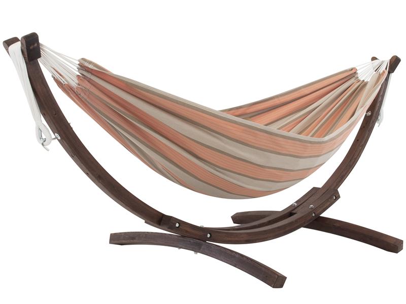 Hamak dwuosobowy Sunbrella + drewniany stojak, pomarańczowo-szary C8SPSN
