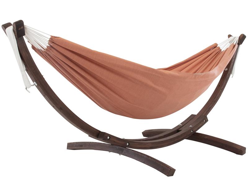 Hamak dwuosobowy Sunbrella + drewniany stojak, Pomarańczowy C8SPSN
