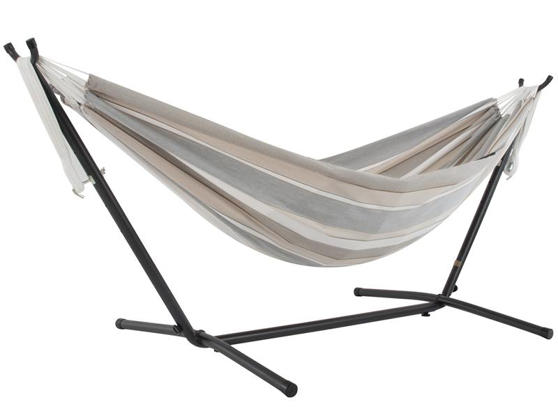 Hamak Sunbrella + stojak metalowy 8f, beżowo-szary C8SUN