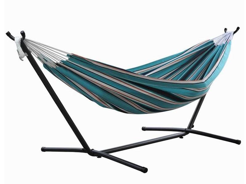 Hamak Sunbrella + stojak metalowy 8f, niebieski / turkusowy C8SUN