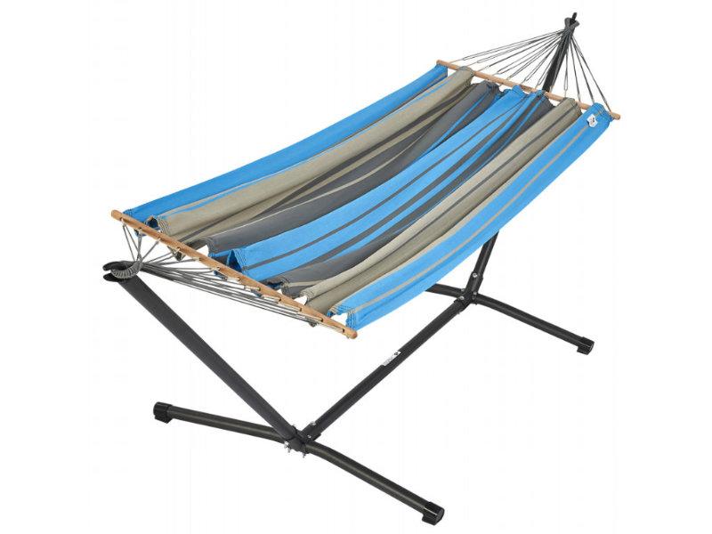 Metalowy stojak i hamak GraphiK, niebiesko-szary MetaliK Set
