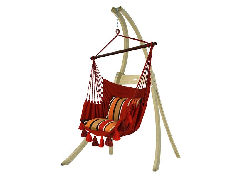 Zestaw hamakowy: fotel AHC-10 ze stojakiem drewnianym Atlas, Czerwony AHC-10-AT