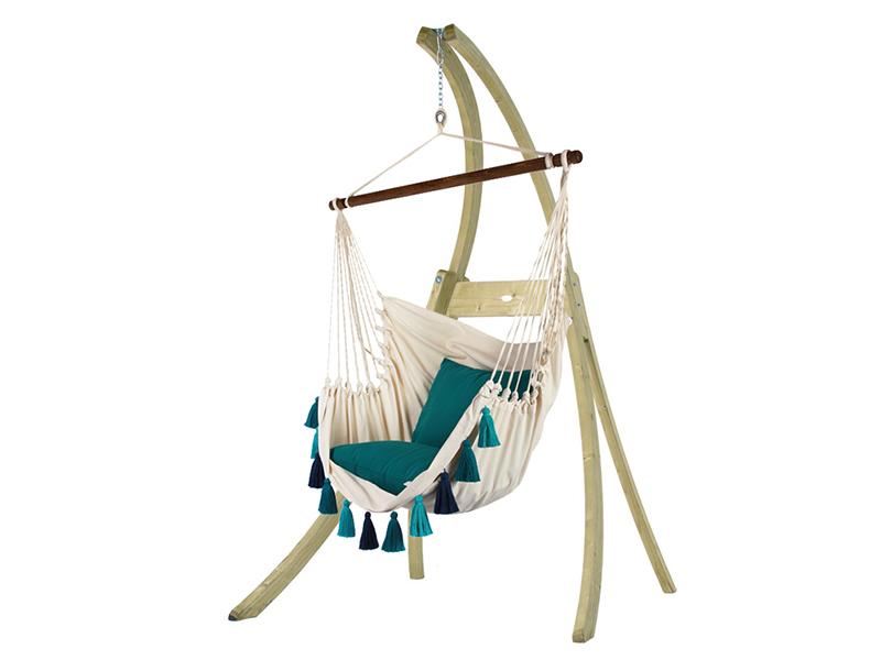 Zestaw hamakowy: fotel AHC-10 ze stojakiem drewnianym Atlas, ecru-niebieski AHC-10-AT