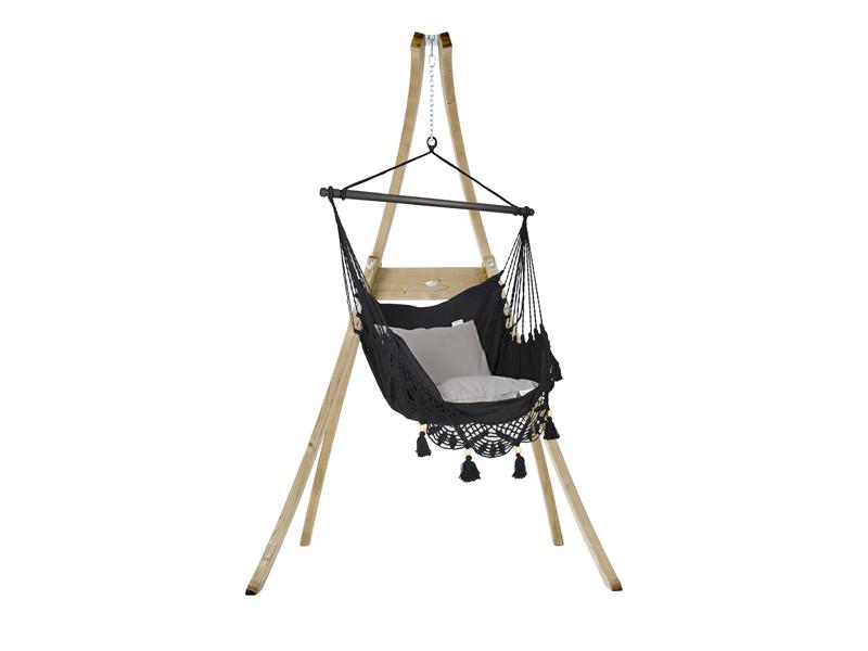 Zestaw hamakowy: fotel AHC-11 ze stojakiem drewnianym Atlas, czarny fotel AHC-11+stojak Atlas