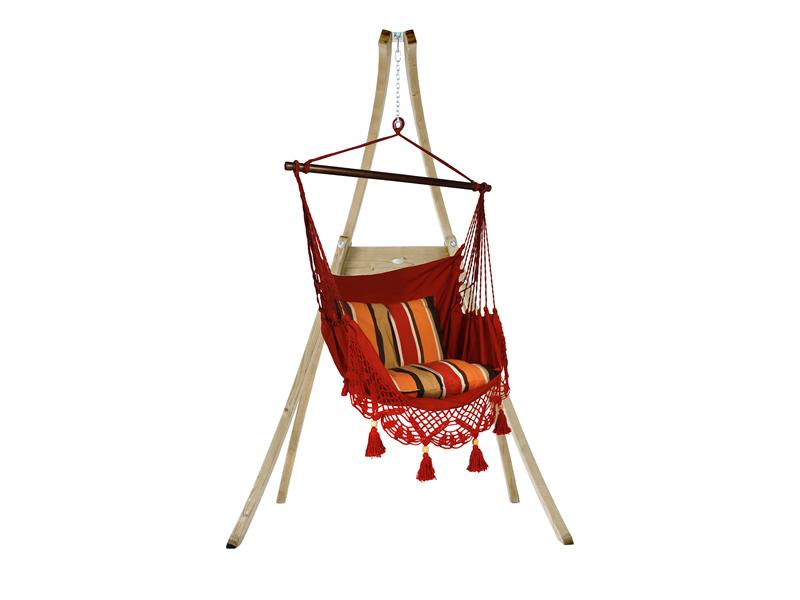 Zestaw hamakowy: fotel AHC-11 ze stojakiem drewnianym Atlas, Czerwony fotel AHC-11+stojak Atlas