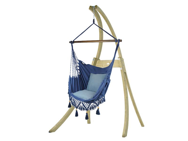 Zestaw hamakowy: fotel AHC-11 ze stojakiem drewnianym Atlas, Granatowy fotel AHC-11+stojak Atlas
