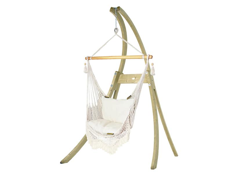 Zestaw hamakowy: fotel AHC-8 LUX ze stojakiem drewnianym Atlas, AHC-8-LUX-AT