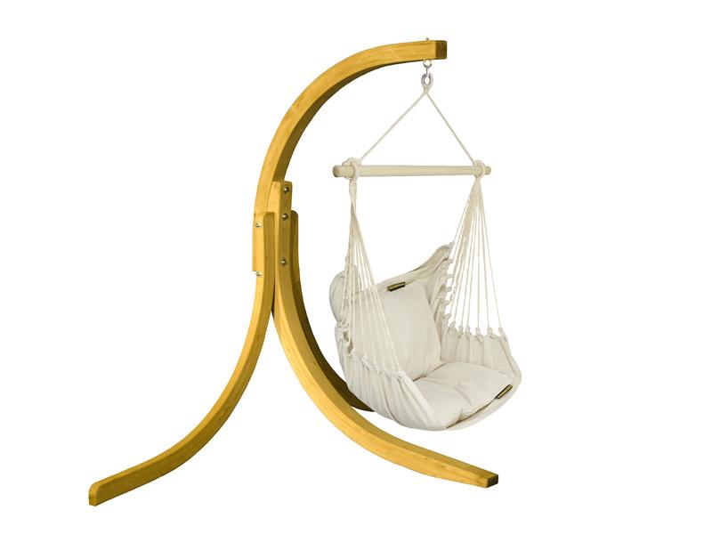 Zestaw hamakowy: fotel HC9 ze stojakiem drewnianym Alicante Swing, ecru fotel HC9+stojak Alicante Swing