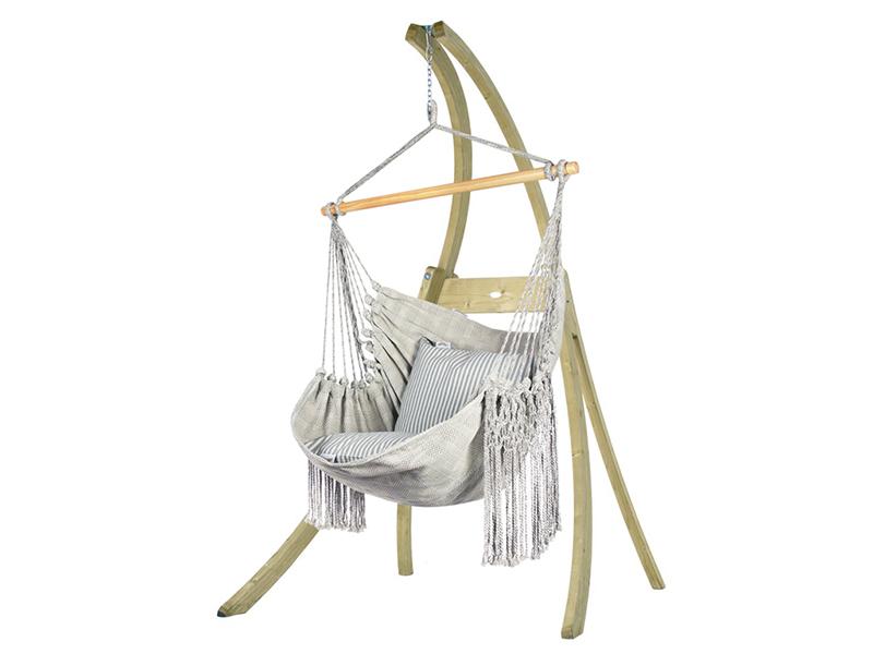 Zestaw hamakowy: fotel HCXL-C ze stojakiem drewnianym Atlas, kremowo-niebieski HCXL-C-AT