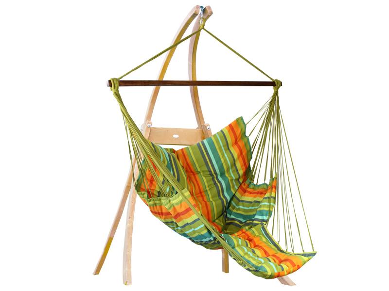 Zestaw hamakowy: fotel pikowany Comfy ze stojakiem drewnianym Atlas, Kuna Yala fotel Comfy+stojak Atlas