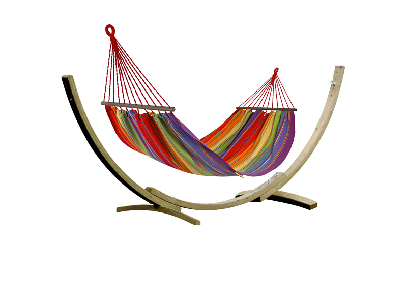 Zestaw tęczowy, Colorful Hamak HS-298 + stojak Aztek