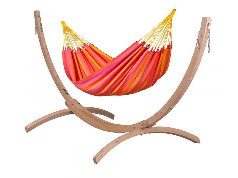 Zestaw hamakowy: hamak Sonrisa ze stojakiem Canoa, czerwono-żółty SNH14CNS121