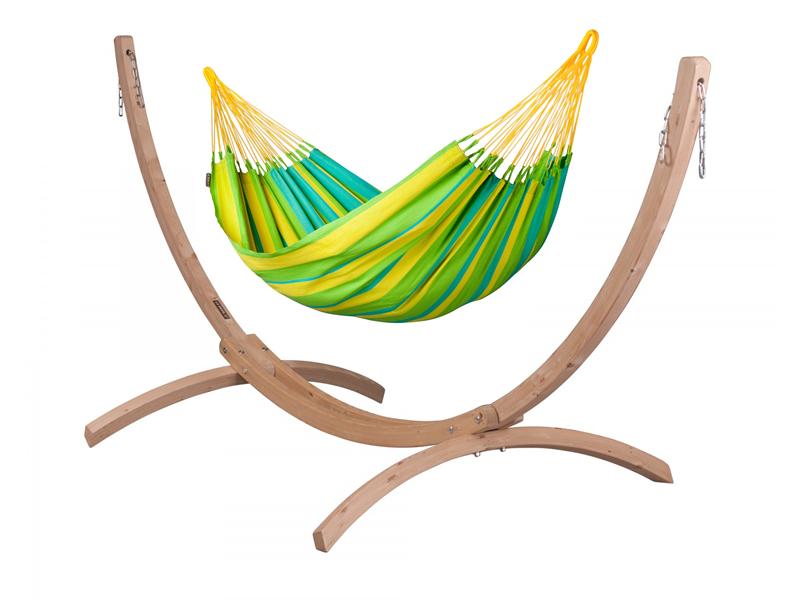 Zestaw hamakowy: hamak Sonrisa ze stojakiem Canoa, zielono-żółty SNH14CNS121