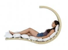 Drewniany fotel hamakowy, Swing Lounger - ecru(Creme)