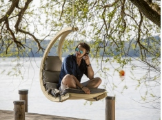 Drewniany fotel hamakowy, Swing Chair - Szary(Anthracite)