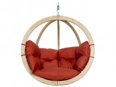 Fotel hamakowy drewniany, Globo chair natura - Czerwony(Terracotta)