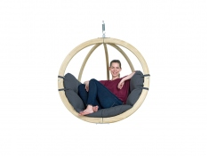 Fotel hamakowy drewniany, Globo chair weatherproof - szaro-czarny(Anthracite)