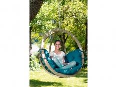 Fotel hamakowy drewniany, Globo chair natura - zielony(Green)