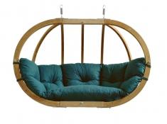 Fotel hamakowy dwuosobowy drewniany, Globo Royal Chair natura - Zielony(Green)