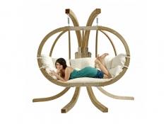Fotel hamakowy dwuosobowy drewniany, Globo Royal Chair natura - ecru(Natura)