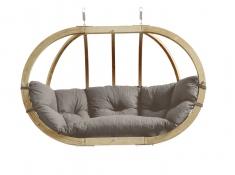 Fotel hamakowy dwuosobowy drewniany, Globo Royal chair weatherproof - Szary(Taupe)