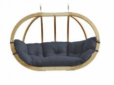 Fotel hamakowy dwuosobowy drewniany, Globo Royal chair weatherproof - szaro-czarny(Anthracite)