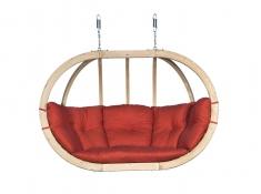 Fotel hamakowy drewniany, Swing Chair Double - Czerwony(2)