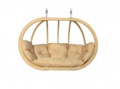 Fotel hamakowy drewniany, Swing Chair Double (2) - cappuccino(4)