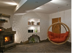 Fotel hamakowy drewniany, Swing Chair Single - Czerwony(2)